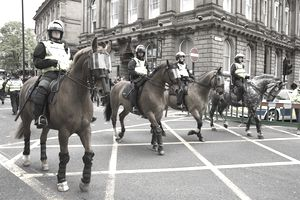 Mounted police during the English Defence League march in Newcastle upon Tyne 29 May 2010