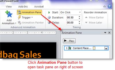 Open the PowerPoint animation pane