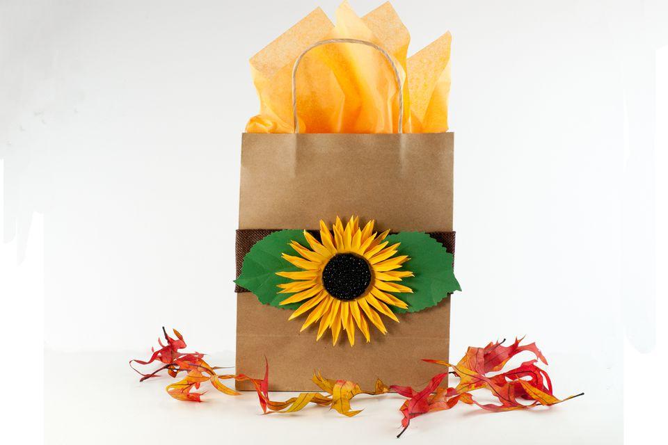 sunflower gift bag tutorial