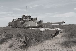 U.S. Soldiers operating an M1A tank