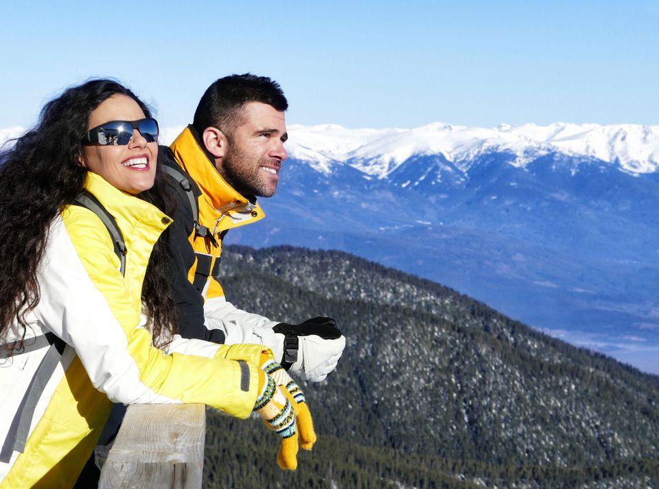 winter couple mountains