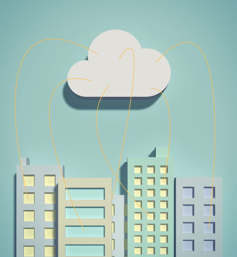 Cloud network and office buildings