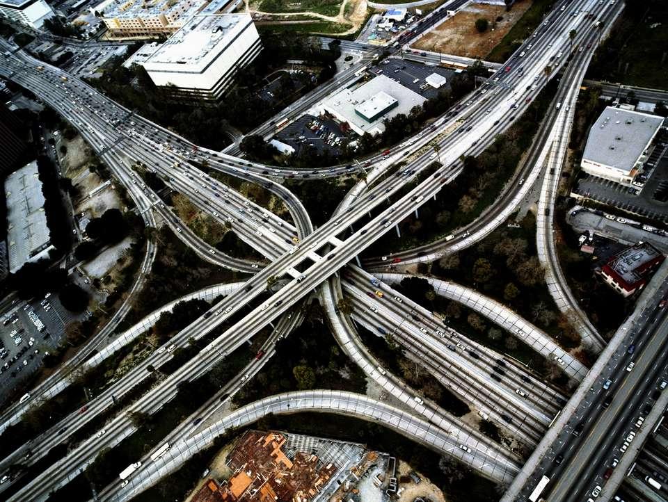 USA, California, Los Angeles, 110 and 101 freeway interchange