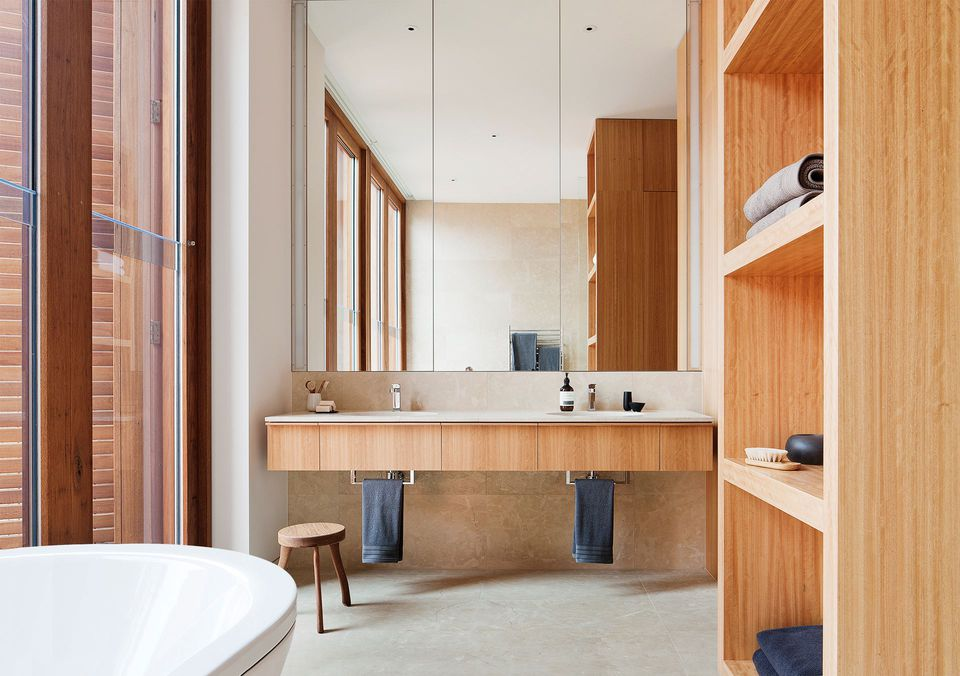 bathroom inspiration wood warm