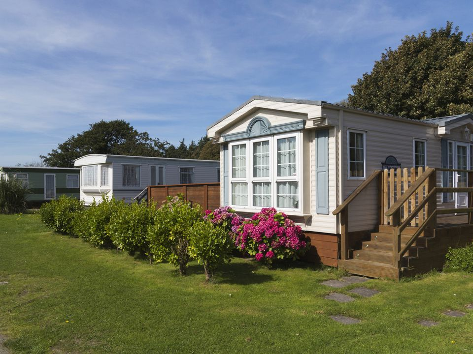 Luxury mobile homes on a trailer or caravan park,
