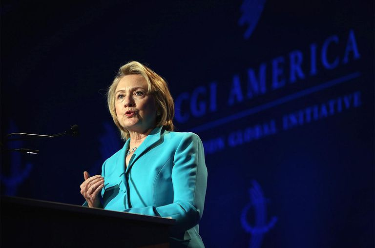 ormer Secretary of State Hillary Clinton speaks to guests at the Clinton Global Initiative (CGI) on June 13, 2013 in Chicago, Illinois.