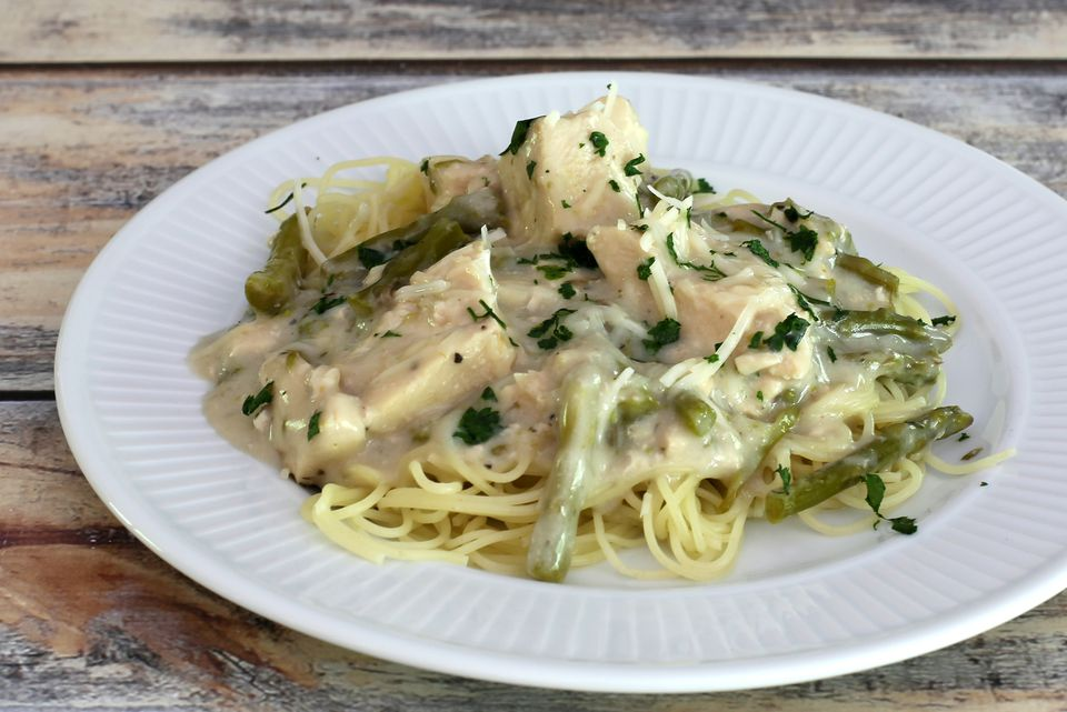 Crock Pot Chicken and Asparagus With Angel Hair Pasta