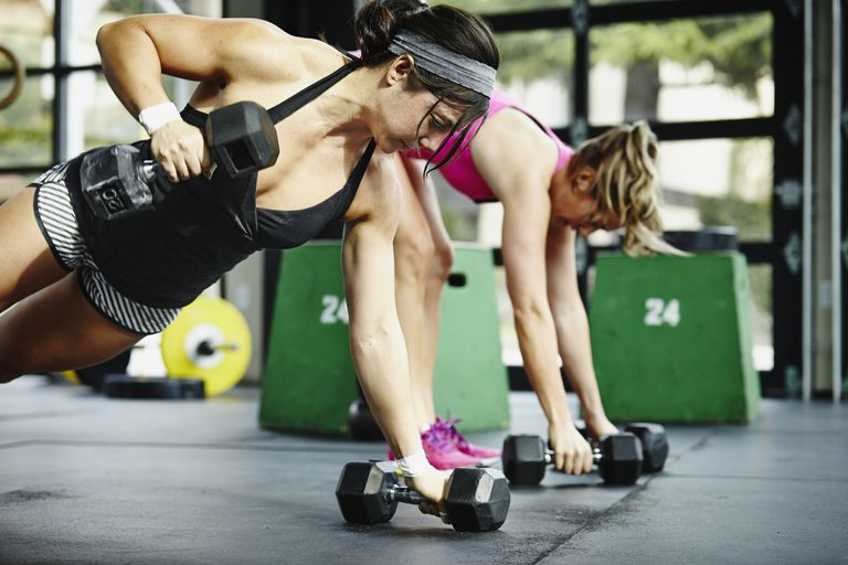 Women lifting weights