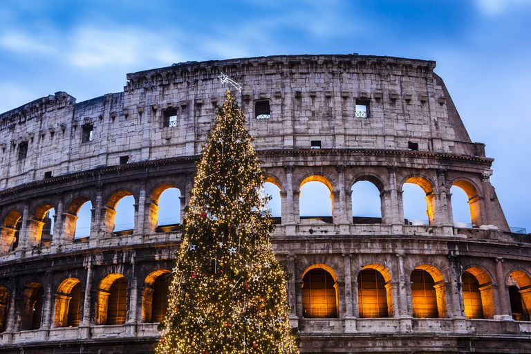 Christmas tree at Colosseum at dusk