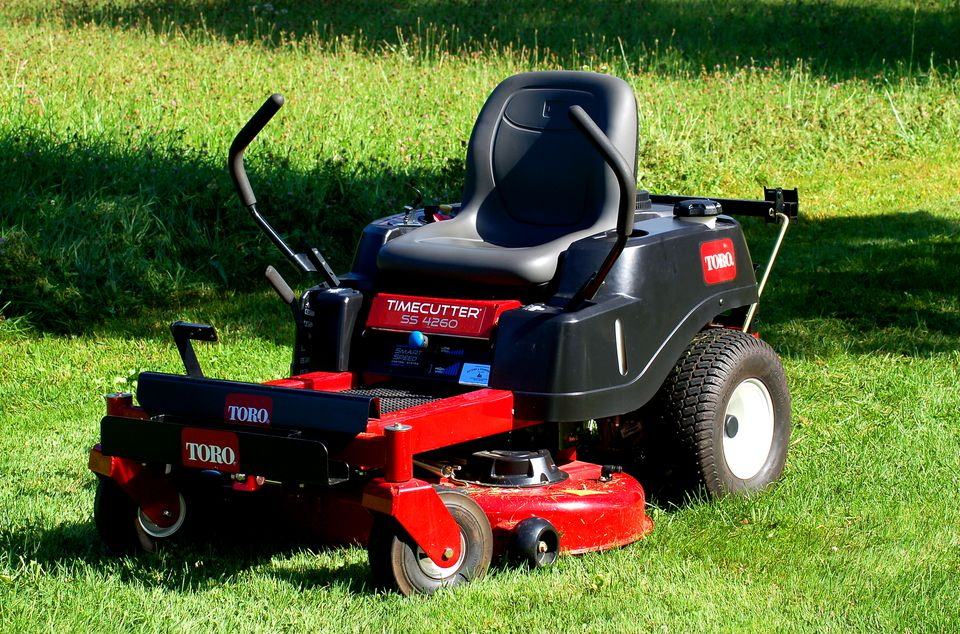 The Toro Timecutter (image) is a riding mower. It is considered zero-turn.