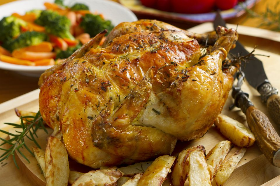 Roast Chicken Dinner Topped with Thyme