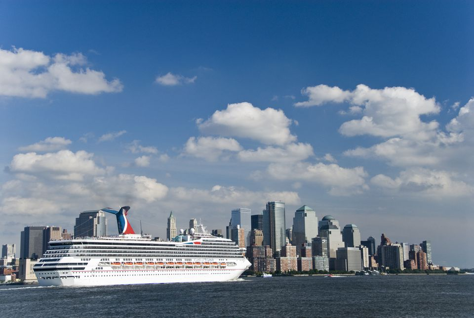 Carnival Triumph cruise ship sailing from New York City on Hudson River.