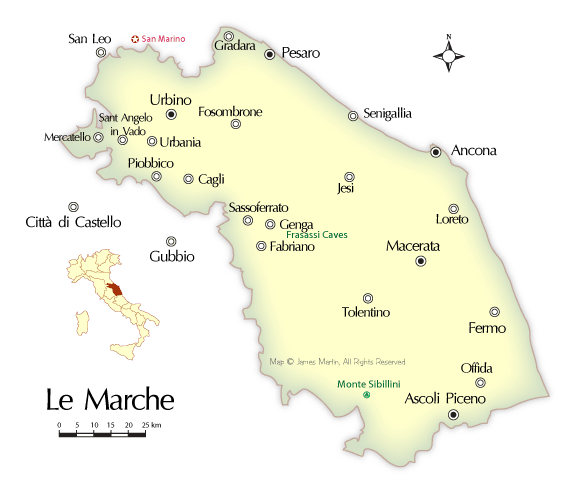 Map and Travel Guide for Marche Region of Central Italy