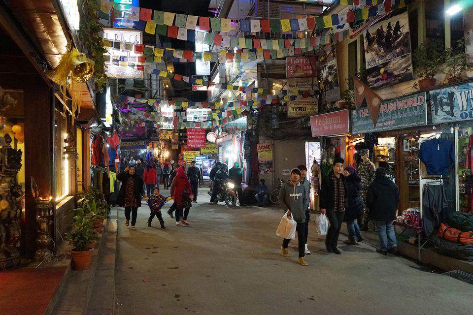 Thamel street at night.