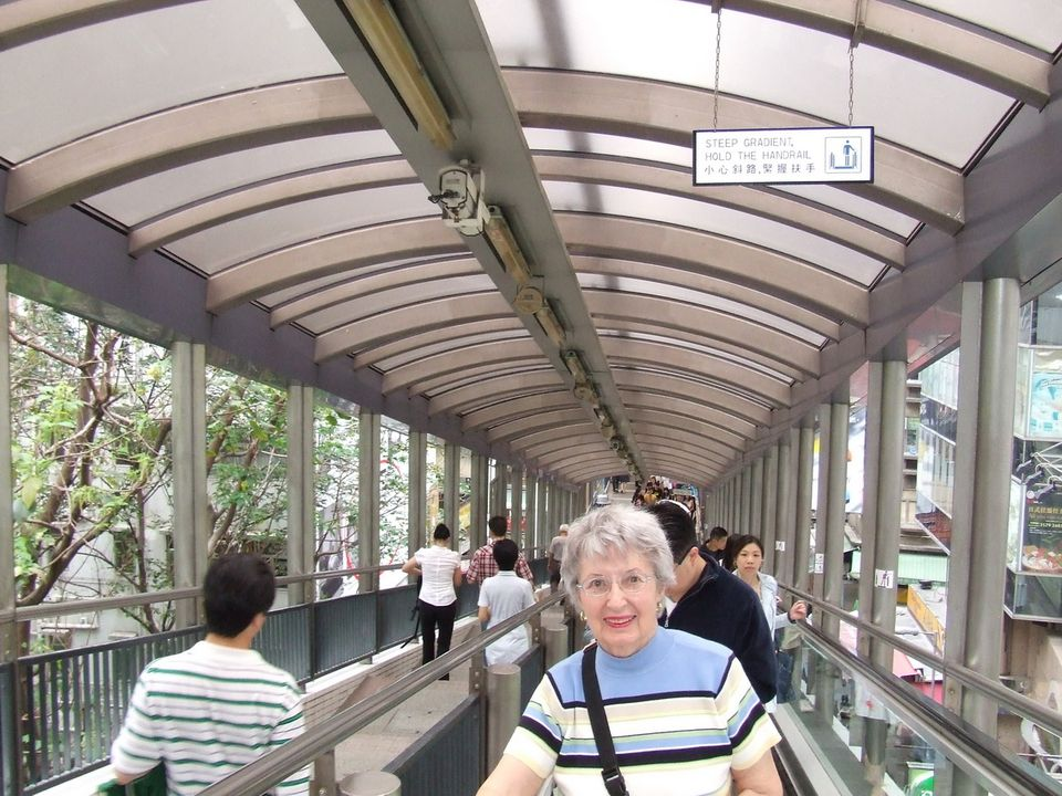 Hong Kong - Riding the Mid-Levels Escalator in the Central District of Hong Kong