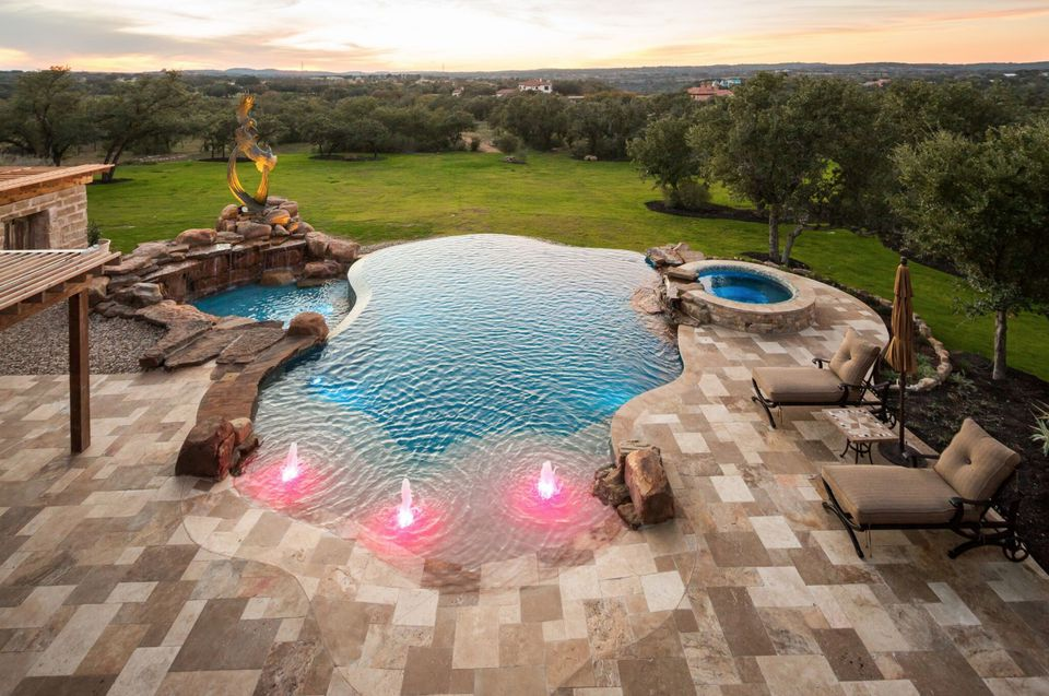 swimming pool with water features