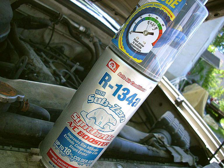 If your car uses R134 type refrigerant, you can recharge your own AC system.