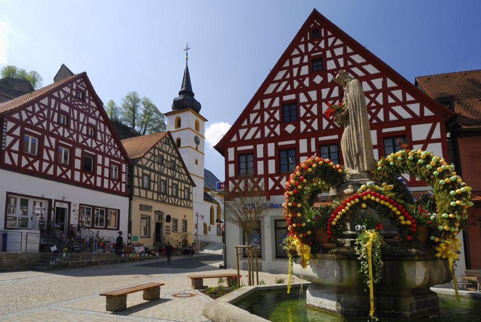 Easter fountain, Pottenstein, Upper Franconia, Bavaria