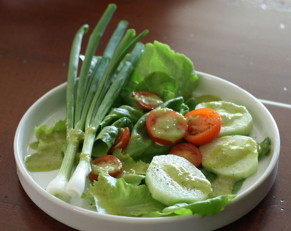 Garlic Scape Dressing on Salad