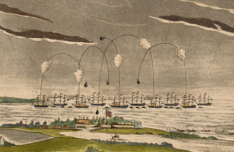 Color lithograph of the bombardment of Fort McHenry in 1814