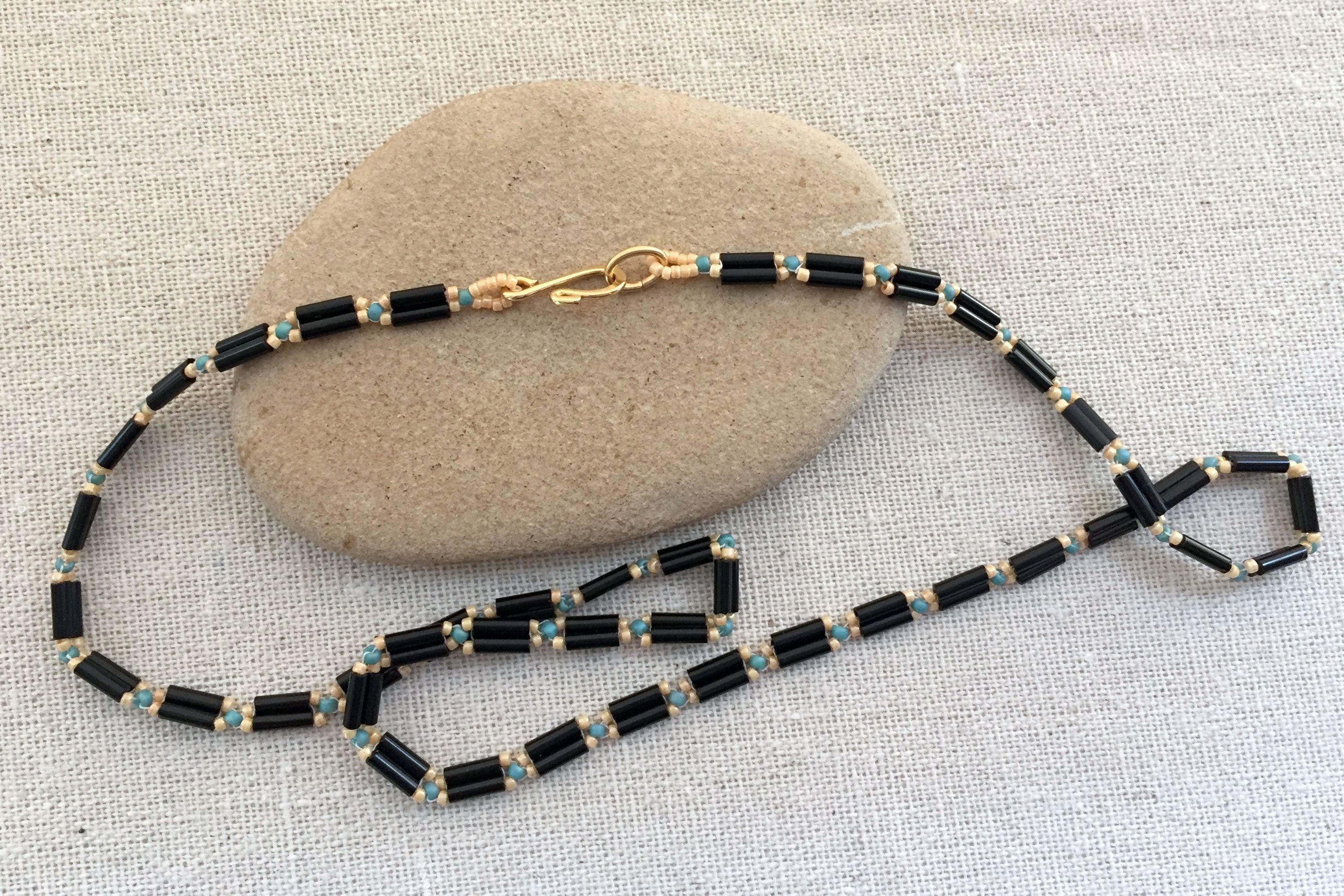 Double bugle bead chain necklace baditri Choice Image