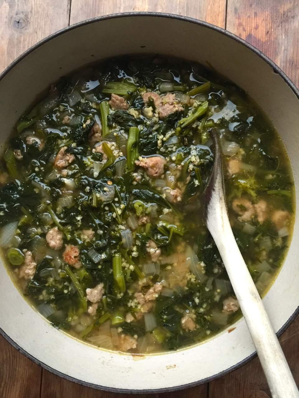 Turkey Sausage, Broccoli Rabe and Millet Soup