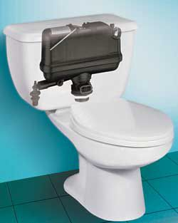 pressure assisted toilet tank cutaway