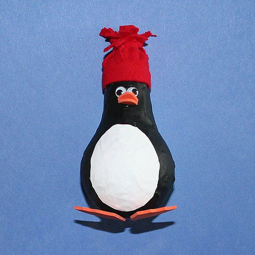 Light Bulb Penguin Paper Mache Craft