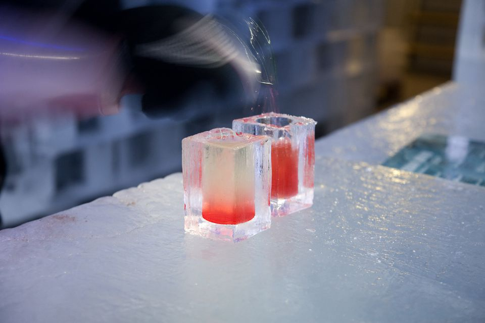 Frozen drinks at the Ice Bar in Stockholm, Sweden