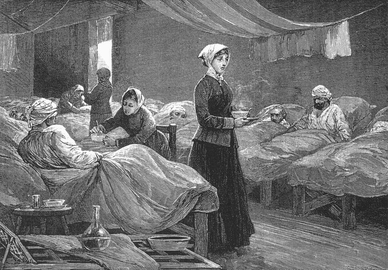 Florence Nighingale in a hostpital in the 1880s