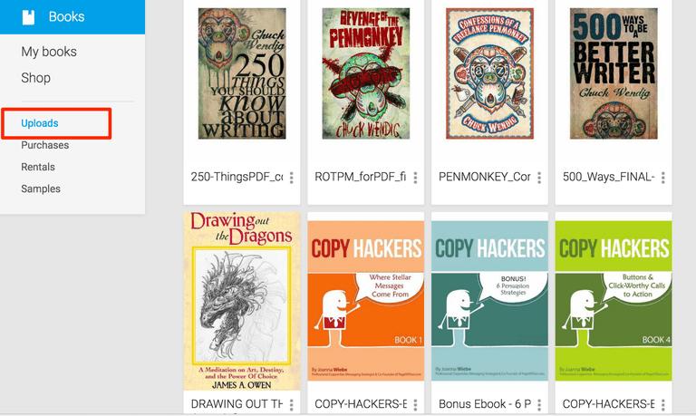 Google Books Uploads