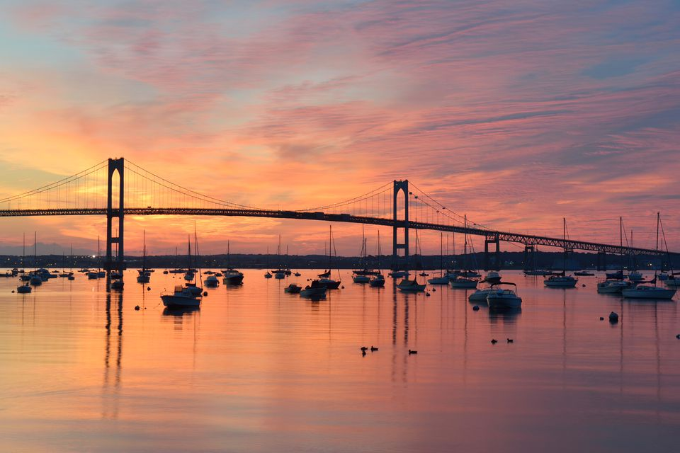 Newport bridge at sunrise