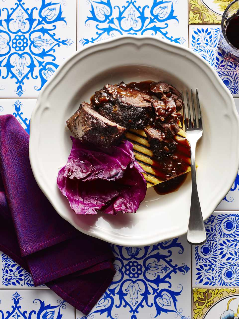 Braised Beef Cheek with Grilled Polenta and Radicchio