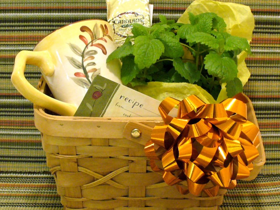 coffee, herbs, gift, basket, recipes, kitchen, christmas, present, receipts