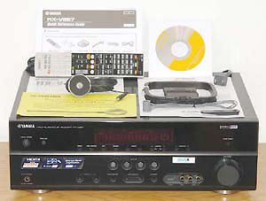 Yamaha RX-V667 7.2 Channel Home Theater Receiver - Front View w/Included Accessories