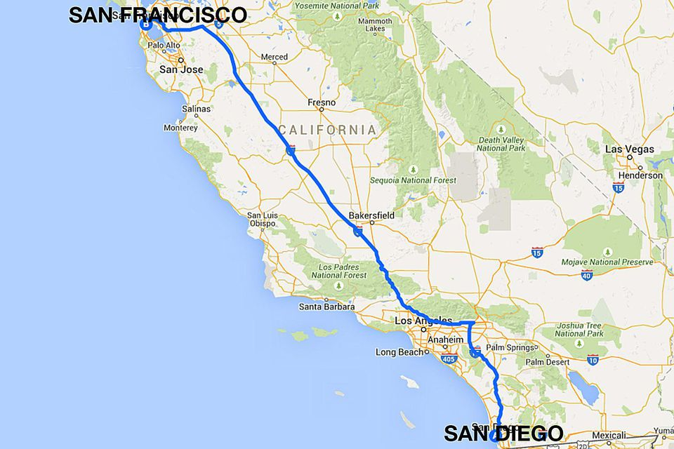 Driving Route from San Diego to San Francisco