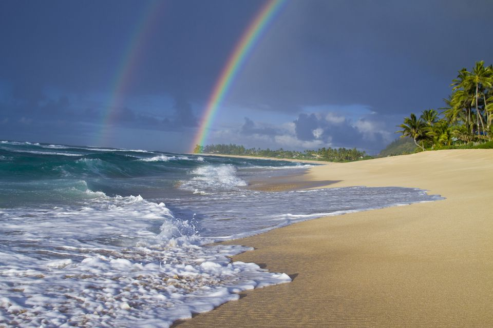 An amazing double rainbow over Rocky Point, on the north shore of Oahu, Hawaii.