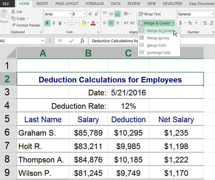 Merge Cells in Excel and Google Spreadsheets – Center Worksheet Excel
