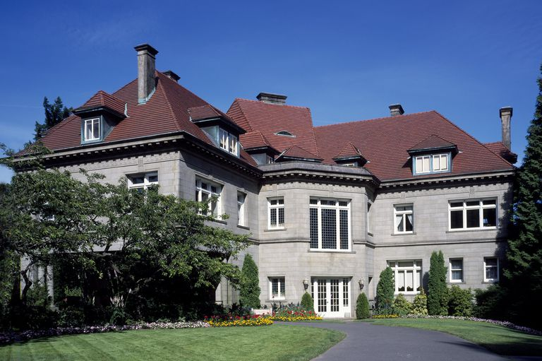 Architect Edward Foulkes designed the Pittock Mansion, 1914, near Portland, Oregon. This grand stone mansion combines a variety of French styles.