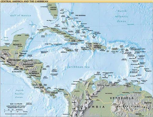 Central America and Caribbean Cruise Map