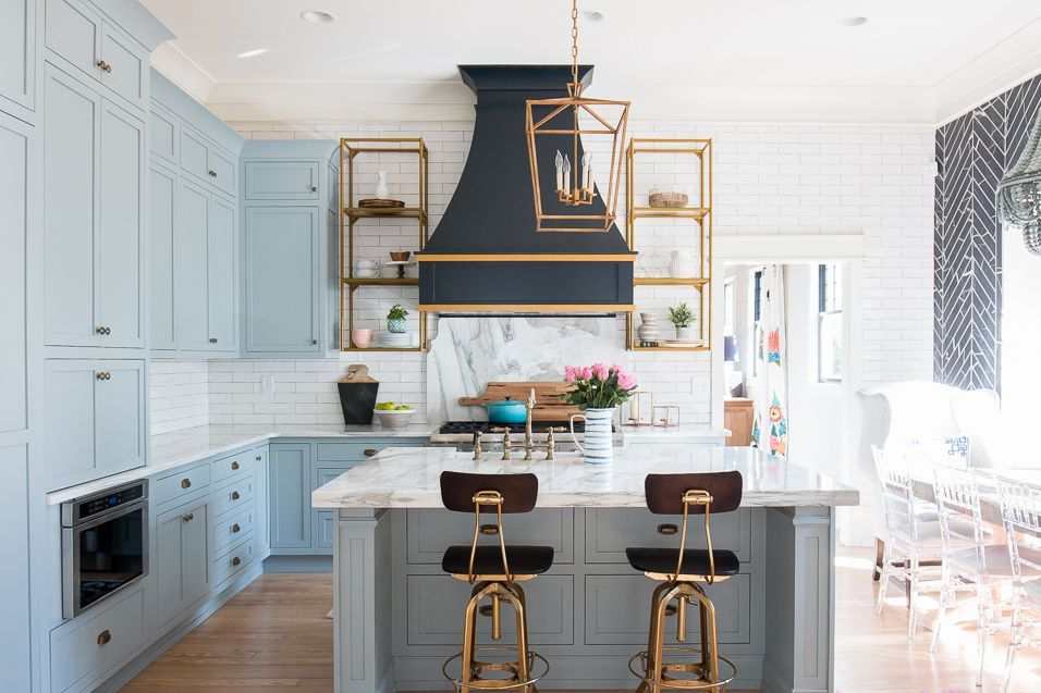 Beautiful blue kitchen design ideas for Blue kitchen paint ideas