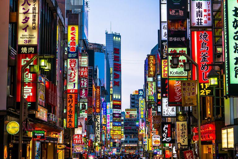 neon signs in Shinjuku, Tokyo at night