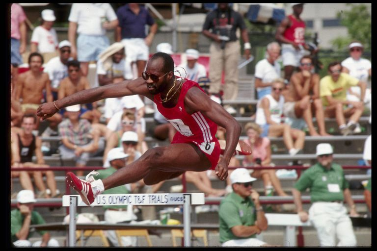 World class athlete Edwin Moses of the USA in action as he clears a hurdle during his qualifying heat in the 400 meter race during the United States Olympic Trials