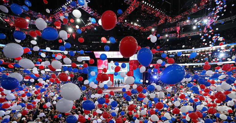 Balloons drop from ceiling at the Republican National Convention