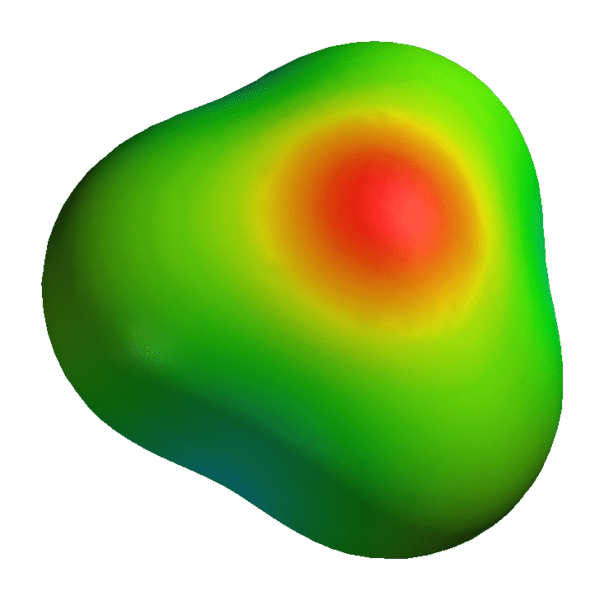 This image depicts the distribution of electric potential across the hydronium cation.