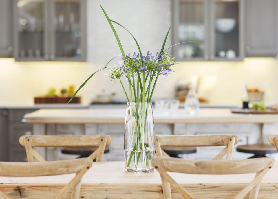 Flower Vase On A Kitchen Table
