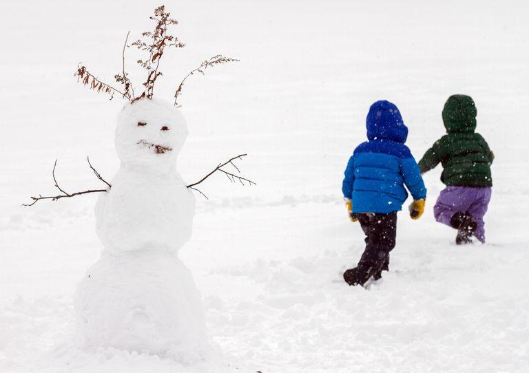 Snow day - children with snowman