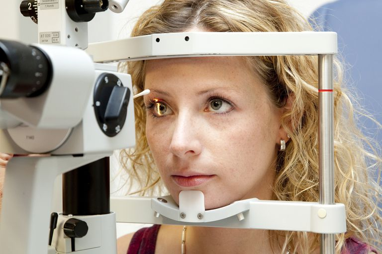Examination of a patient's retinal, conjunctiva, cornea, optic nerve, blood vessels, with a slit lamp
