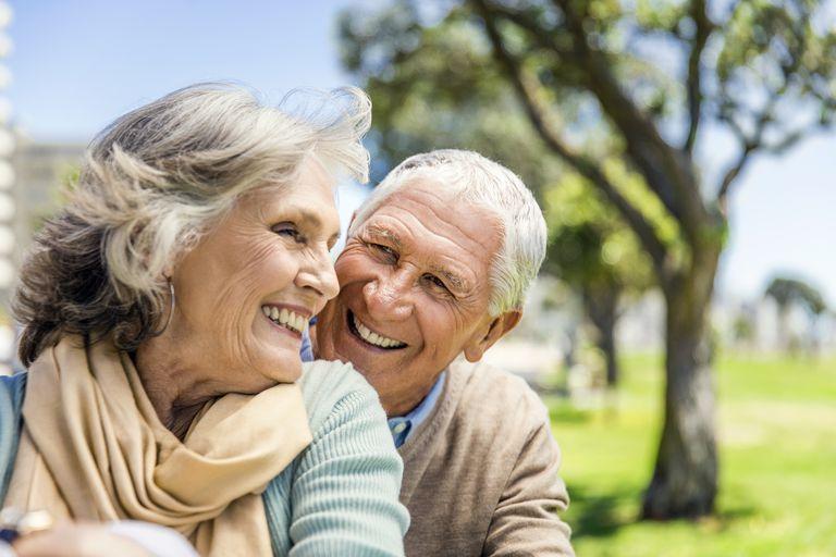Happy senior couple at park