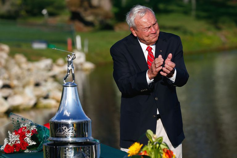 Arnold Palmer looks on during the trophy ceremony after the final round of the Arnold Palmer Invitational in 2014